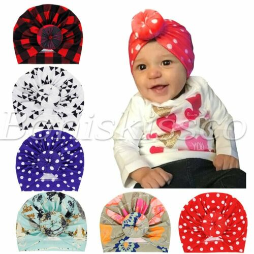 Cute Newborn Baby Toddlers Polka Dot Hats Knot Turban Headbands Headwrap 6pc Set