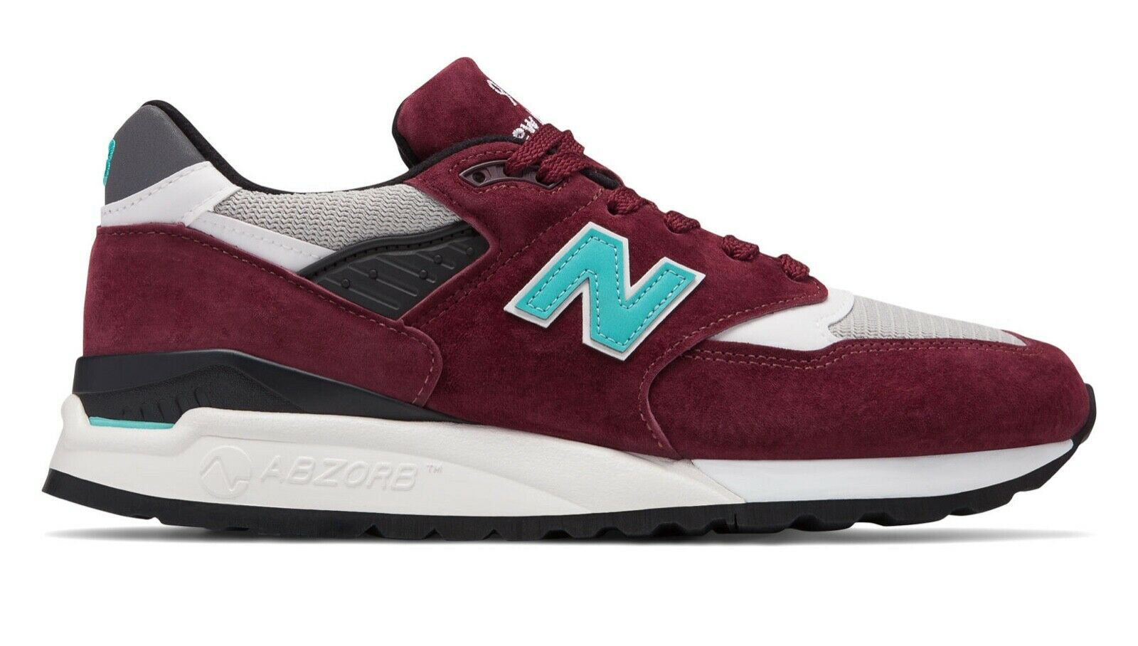 New Balance Men's 998 Made in USA Lifestyle shoes M998AWC Burgundy with bluee