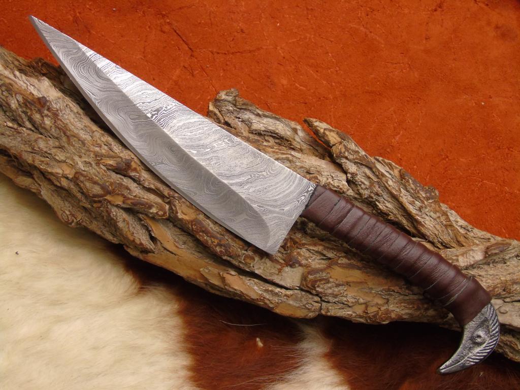 Mittelalter Damast Messer Gürtel Messer handgeschmiedet CR14D CR14D CR14D 206131
