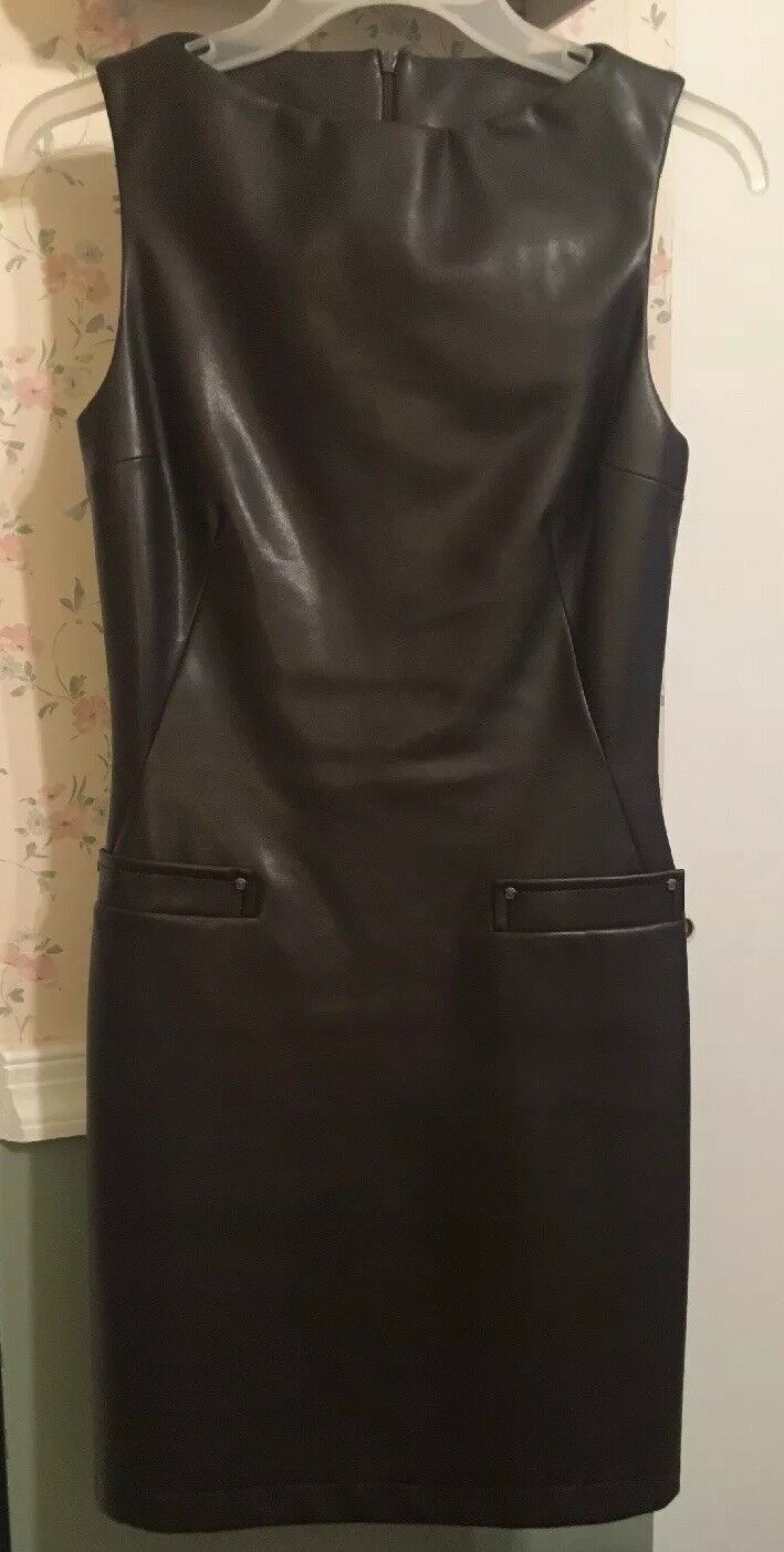 Authentic Versace Jeans Couture braun Sleeveless Lined Faux Leather Dress