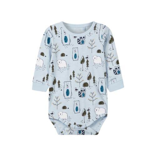 """NAME IT  Baby Body aus Biobaumwolle  /"""" kleiner Bär /"""" in Blau"""
