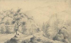 SCOTTISH MOUNTAINS Antique Pencil Drawing - 19TH CENTURY -  c1825 SCOTLAND