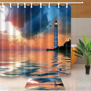 180-180cm-71-034-Waterproof-Polyester-Fabric-Shower-Curtain-Bathroom-Lighthouse