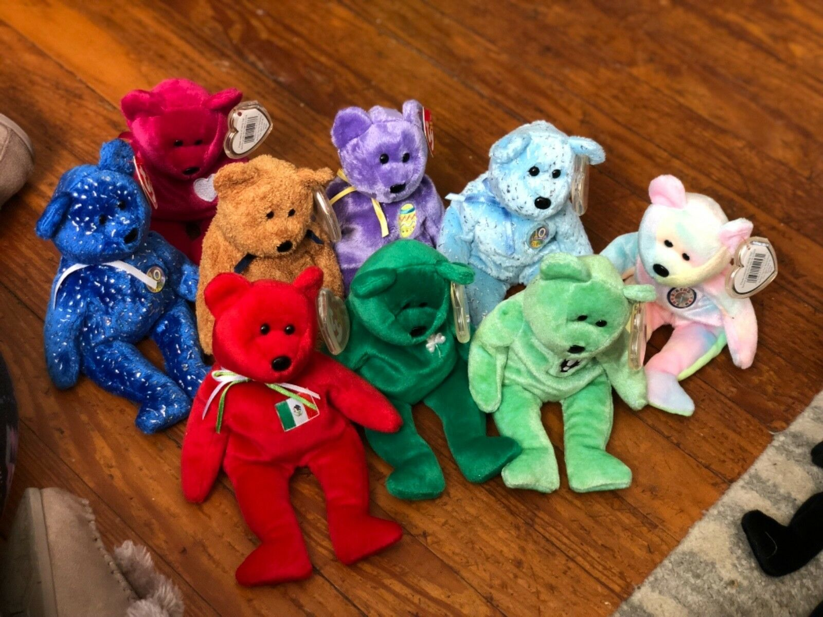 "NWT Lot Of 9 TY Beanie Baby Bears 9"" Plush Mixed Assorted With Tags"