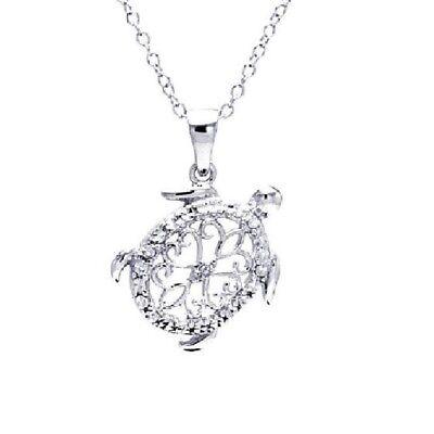 SURANO DESIGN JEWELRY Sterling Silver Necklace w//CZ Stones Turtle Pendant
