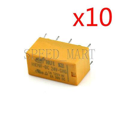 10 PCS High Quality 8 Pins RELAY 24V DC Coil Power Relay PCB < HK19F-DC24V-SHG>