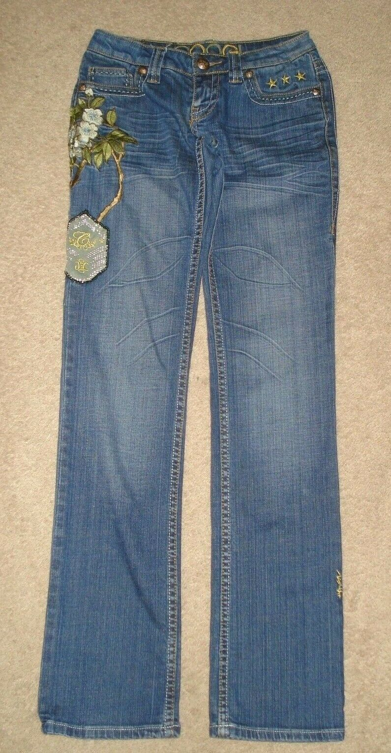 COOGI Australia 1969 Women's Flower & Patch Embossed Jeans Size 1 2