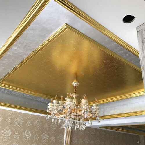 100pc 24K Gold Leaf Sheets Crystal Clay Foil for Art Crafts Design Gilding 9*9cm