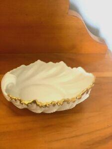 """Vintage Lenox Porcelain ACANTHUS LEAF 3"""" Dish w Gold Trim / GREEN Mark, USA"""