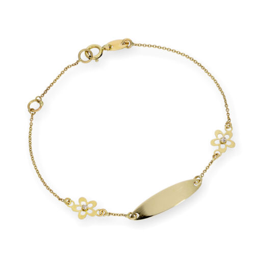 9ct Gold Oval ID Plate Bracelet w CZ Flowers Identity Personalise Engravable
