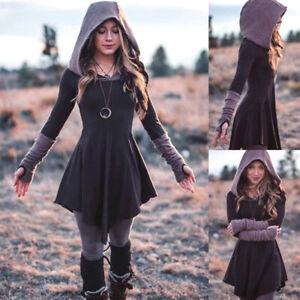 Women-Gothic-Punk-Hooded-Dress-Retro-Streetwear-Long-Sleeve-Pleated-Mini-Dresses