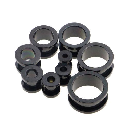 8 Pieces Stainless Steel Gem Screw Fit Ear Plug Gauges Eyelet Tunnel Black/&Gold