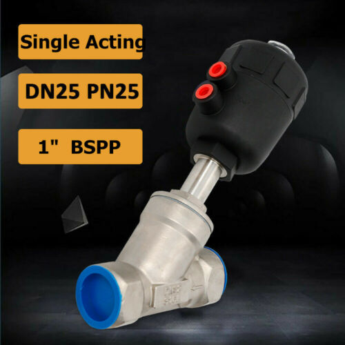 1/'/' N//C Single-Acting Pneumatic Air Actuated Angle Seat Valve Stainless Steel
