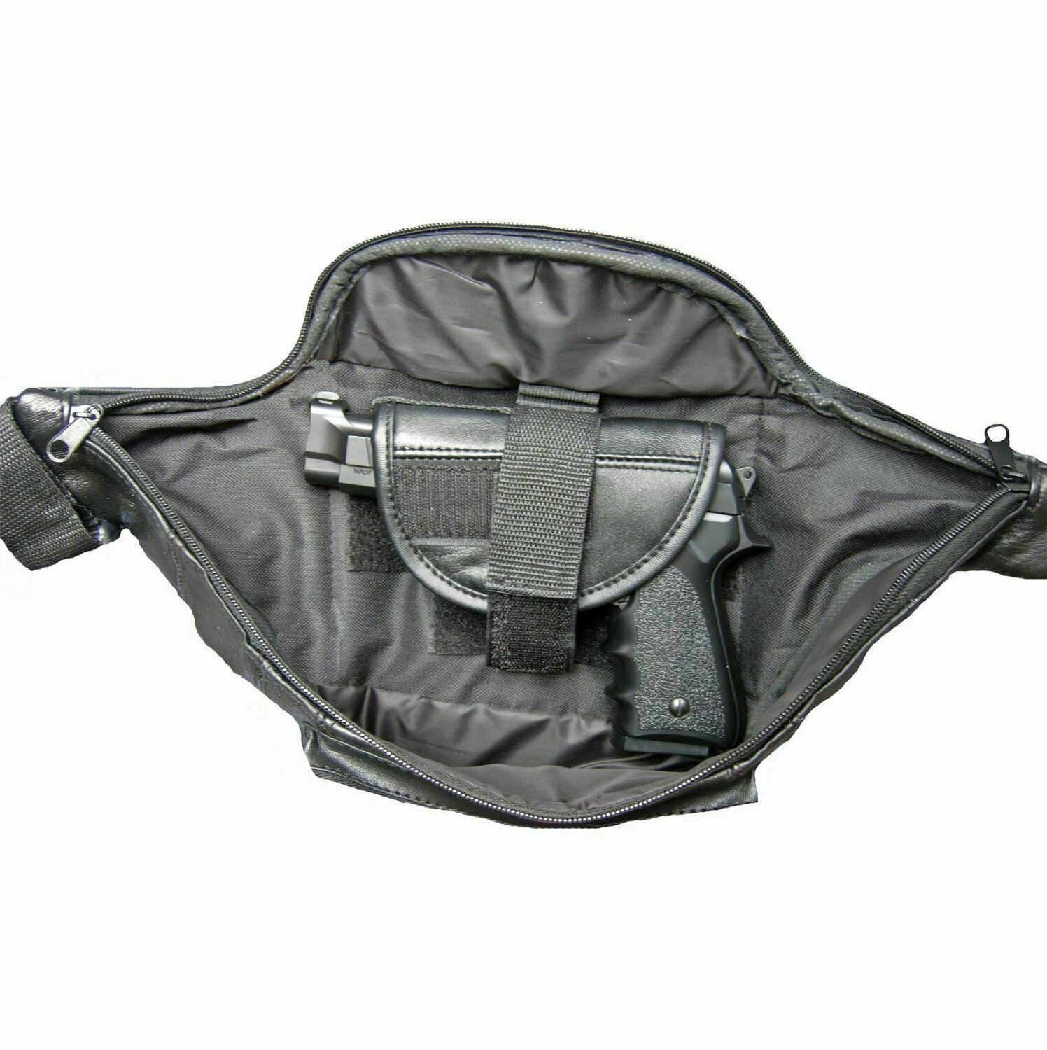 Black Leather Concealed Carry Weapon Fanny Pack Waist Pistol Gun Bag CCW