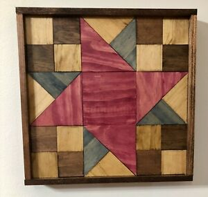 Wood Barn Quilt > Friendship Star < Rustic finish and ALL WOOD >> Handmade in NC