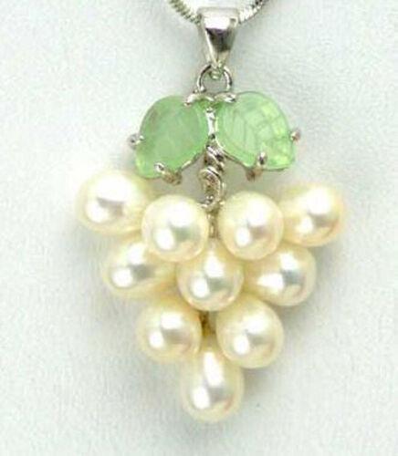 Real White Freshwater Pearl Grape Vine 18KWGP Women Girl Pendant Chain Necklace