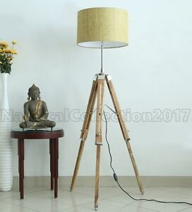 Image Is Loading Retro Style Nautical Tripod Wooden Floor Lamp Shade
