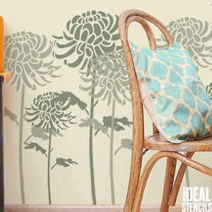 Chrysantheme Fleur Pochoir Peinture Murs Tissu Meuble Decor Maison Reutilisable Ebay