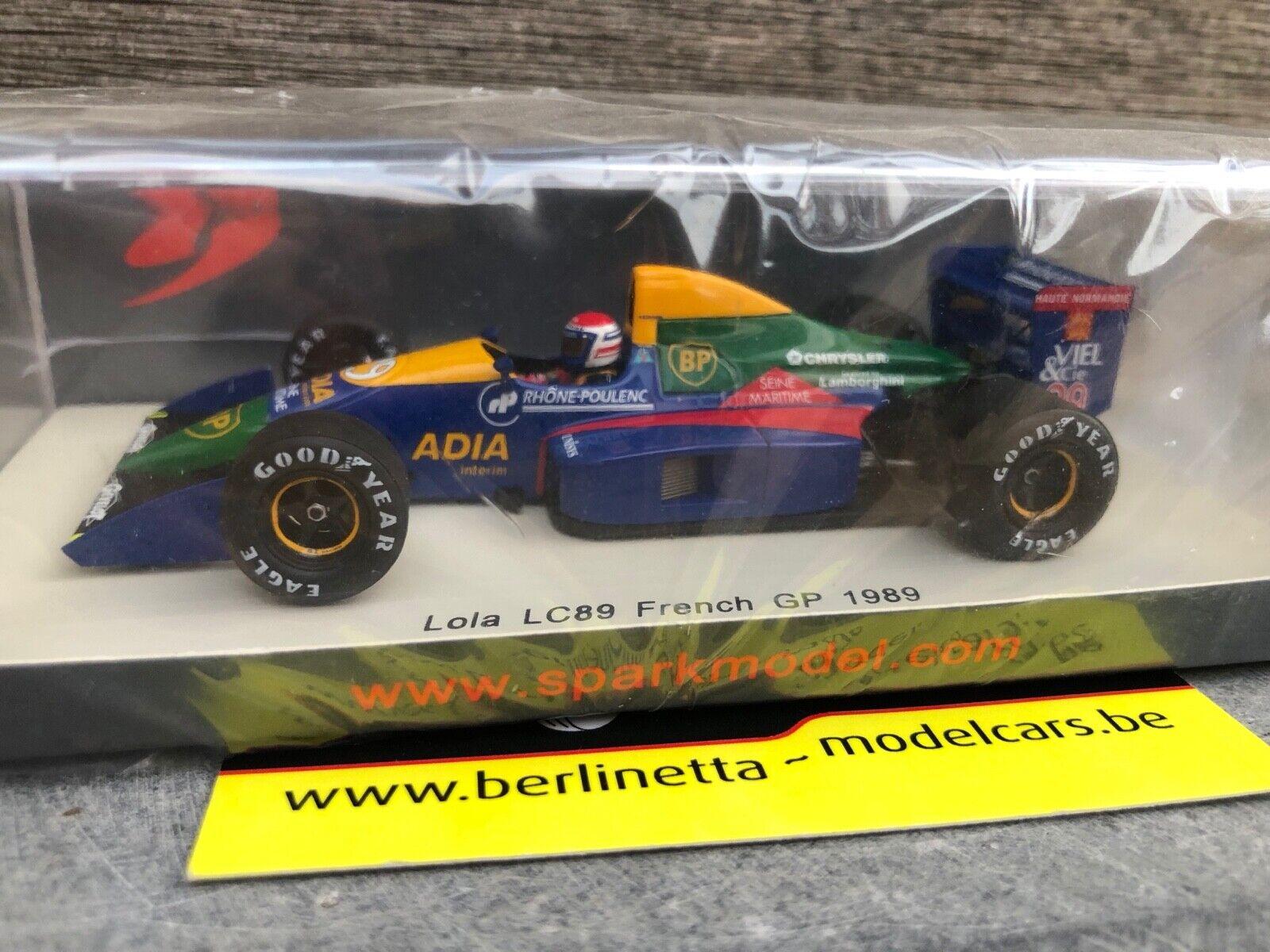 SPARK S2976 LOLA LC89 FRENCH GP F1 1989 ERIC BERNARD 1 43 FORMULA ONE MODELCAR