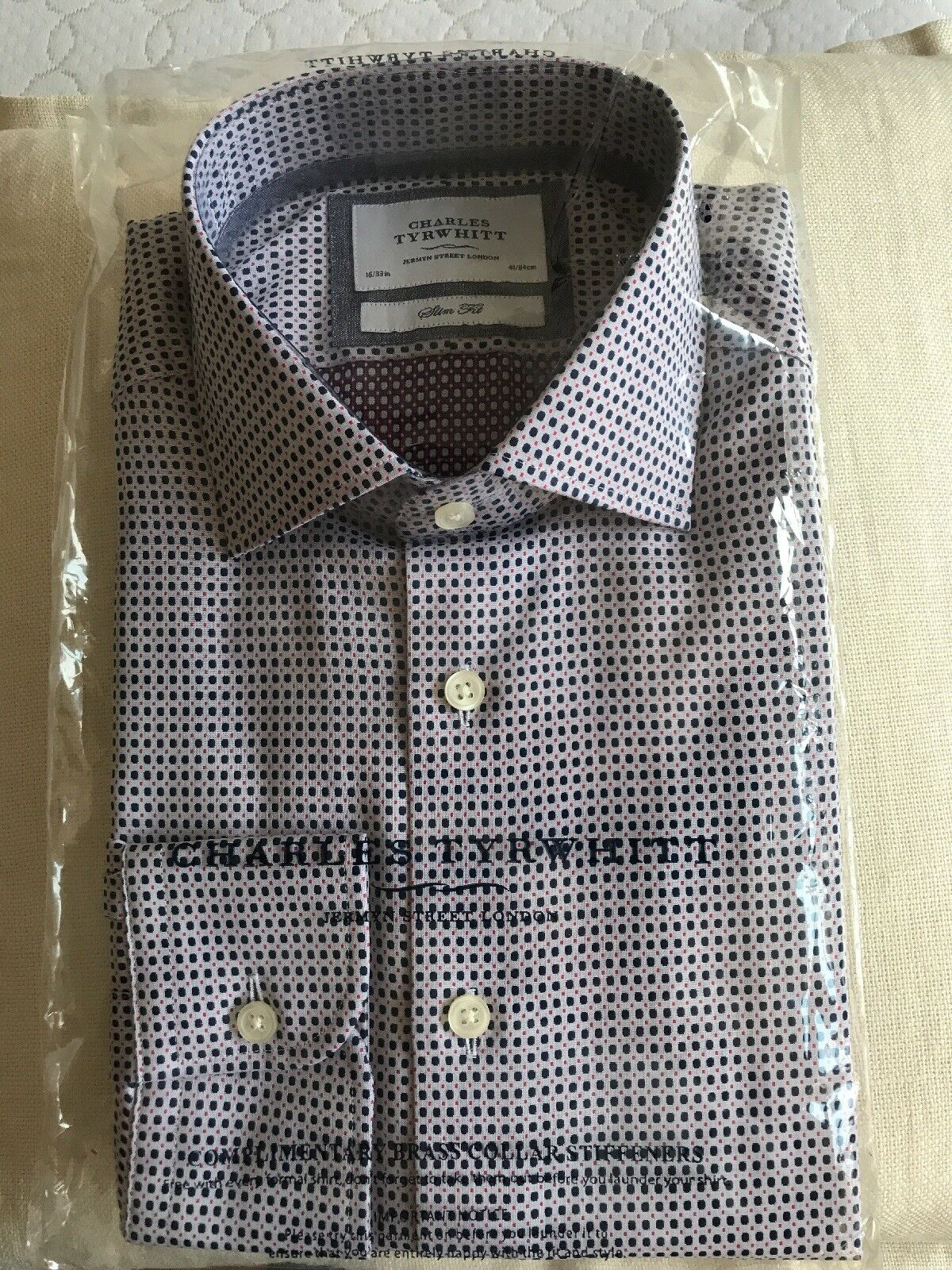 New Charles Tyrwhitt Navy and Pink Casual Slim Fit Button down Shirt 16 x 33