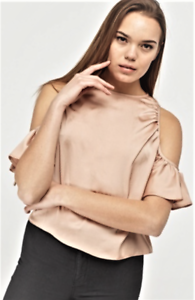 Ladies-Cold-Shoulder-Ruched-Armhole-Crepe-Satin-Top-Size-8-to-20-Dorothy-Perkins