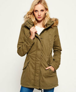 dc4390d753e Image is loading New-Womens-Superdry-Fur-Hooded-Winter-Rookie-Military-