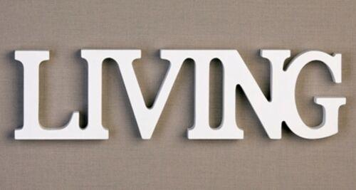 Wanddeko Schriftzug LIVING 37 x 10 x 2cm antik weiß