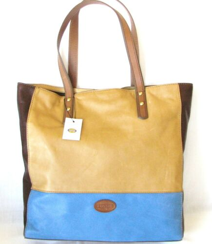 New in Fossil tracolla Borsa Zoey pelle marrone Blue scuro Multi ZrRAZgXqP