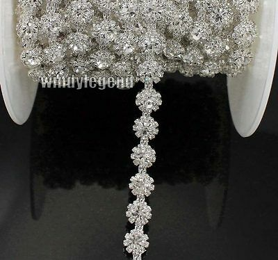 1yds Clear Rhinestone Crystal Chain Costume Applique Sewing Trim Silver Tone