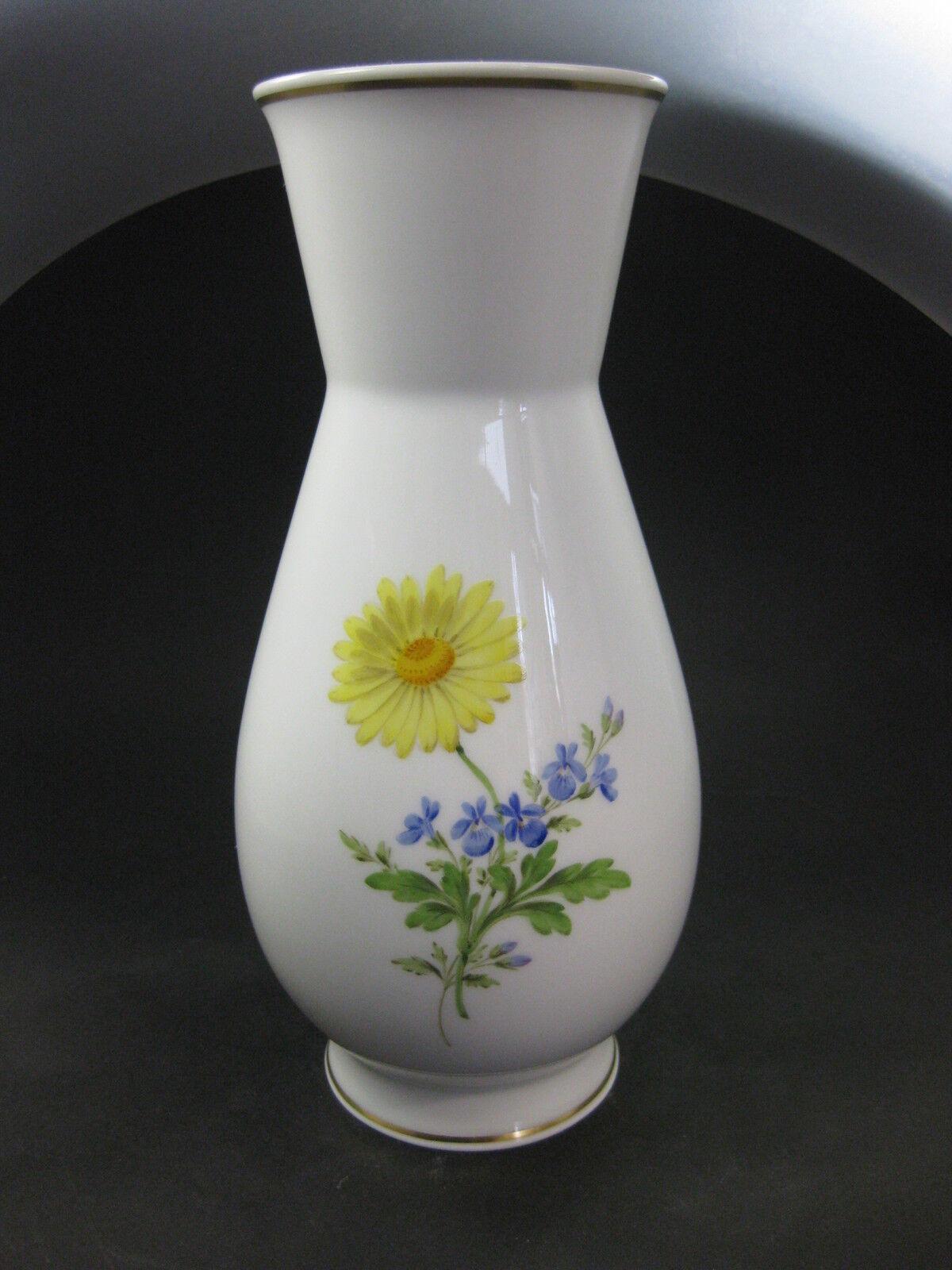 Meissen Couleuré Fleur Couleuré vase excellent état monture en or allemand Kornbleume