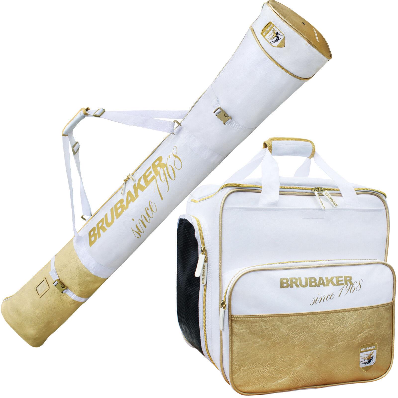 BRUBAKER 'St. Moritz' Luxus Kombi Set Skischuhtasche + Skisack Weiß Gold 170cm