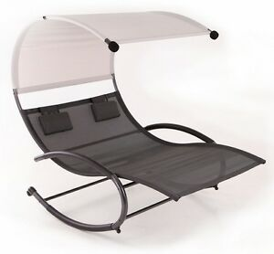 double swing chair w canopy sun shade lounge rocking style outdoor yard sling ebay. Black Bedroom Furniture Sets. Home Design Ideas