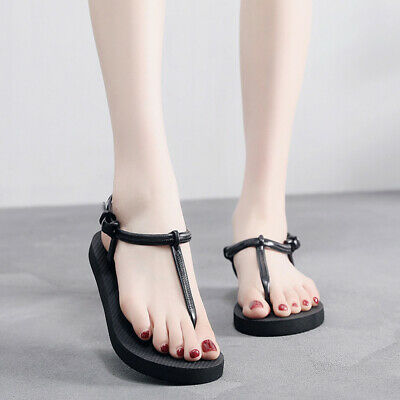 Sandals TBar Flats Gold Diamante Design Straps Stretch Beach Shoes Ladies Womens