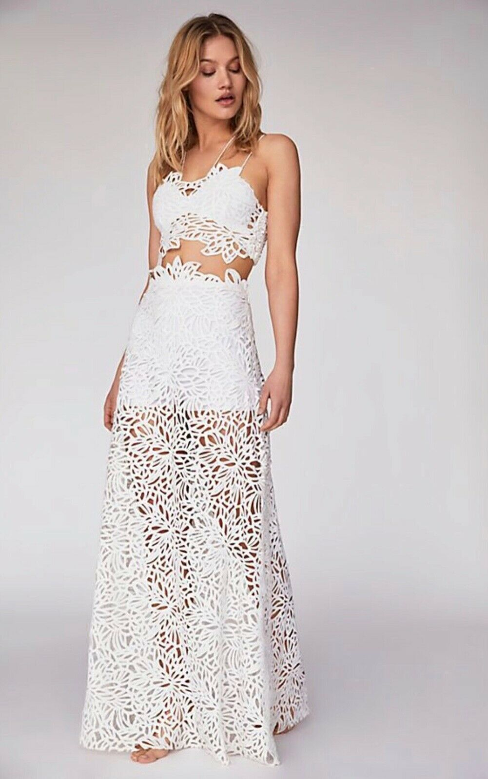 Free People ONE Lissa LIMITED Maxi Skirt Size 4 White