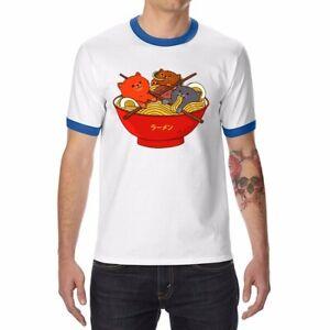 RAMEN-AND-CATS-Cotton-Funny-Ringer-T-shirts-Men-039-s-Short-Sleeve-Raglan-Tops-Tee