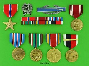 6-WWII-Army-Medals-Ribbons-Badges-European-Theater-Occupation-Bronze-Star