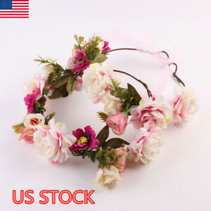 Women-Wedding-BOHO-Wreath-Floral-Hairband-Flower-Headband-Hair-Garland-Crown