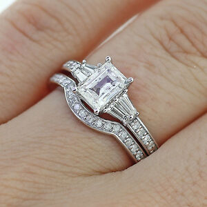 image is loading 2 65ct emerald cut diamond engagement ring amp - Engagement Ring And Wedding Band Set