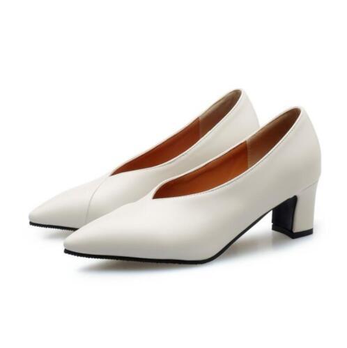 Details about  /Women Mid Heels Block Solid Business Leisure Comfort Shoes Slip On Pumps US4-13