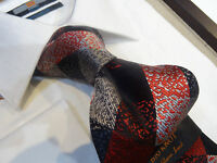 Steven Land Hd Silk Tie Necktie Black Gray Red Diamond Fleck