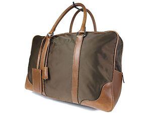 0f1753bf049f Image is loading Authentic-PRADA-Nylon-Canvas-Leather-Khaki-Boston-Bag-