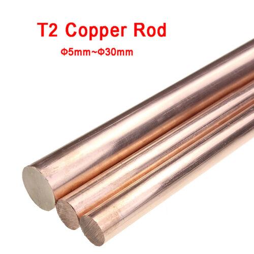 T2 Copper Round Solid Metal Rod Bar Diameter 5//6//8//10//12//15//16//18//20//22//25//30mm