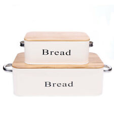 X559 Ivory Vintage Bread Box Metal Bin Set of 2 With Bamboo Lid  Food Container