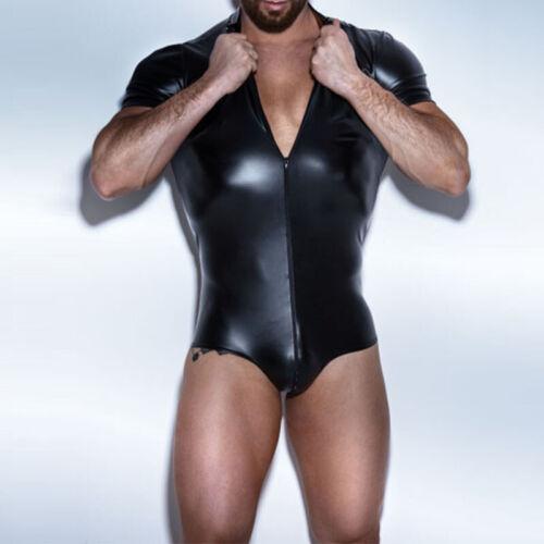 Men Jumpsuit Romper Party PU Leather Jumpsuit Slim Fit Plus Size Tight Romper