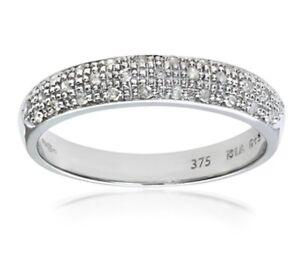 Senoras-oro-blanco-9-CT-100-Natural-Diamond-medio-etenity-Anillo-Tamano-J-gastos-de-envio-gratis