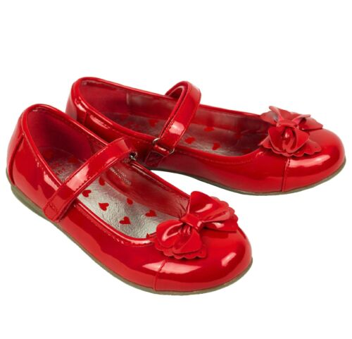 Girls Patent Christening Wedding Party Shoes  Strap Bow Red Xmas  Size UK  3