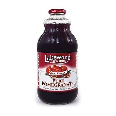 Lakewood Pure Pomegranate Fresh Pressed Juice 32 oz Glass Bottles - Single Pack