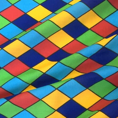 Per Metre Multicoloured Harlequin Diamond Printed Polycotton