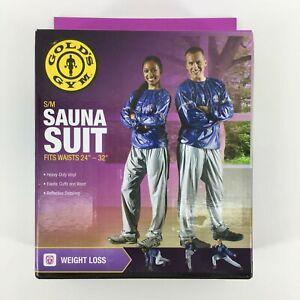 """Golds Gym Adulte Sauna Suit S/m Correspond à Taille Tailles 24"""" - 32"""" Bleu Et Gris-afficher Le Titre D'origine Les Clients D'Abord"""