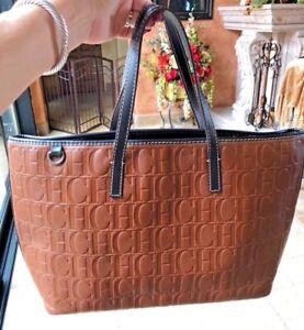 Image Is Loading Carolina Herrera Ch Logo Tote Per Bag Handbag